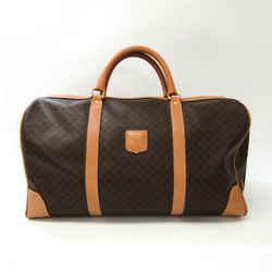 Celine Macadam Unisex PVC,Leather Boston Bag Beige,Dark Brown BF534252