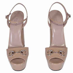 Beige Horsebit Patent Platform Sandals