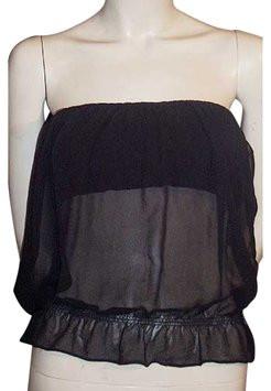 Gucci Black Silk Chiffon, Velvet & Leather Strapless Bustier Top 38IT 4/6 NWT