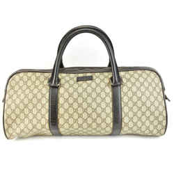 "GUCCI: Brown Leather, & ""GG"" Logo Large Weekender/Duffel Bag (ve)"