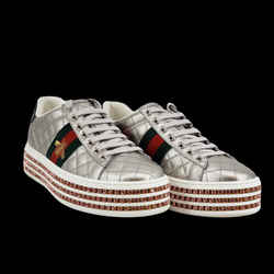 GUCCI Inspired Metallic Quilted Ace Platform Sneakers With Crystals