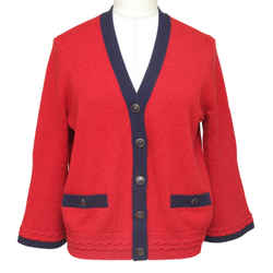 Chanel Cashmere Cardigan Sweater Knit Navy Red Pockets V-Neck Sz 38 18P NWT