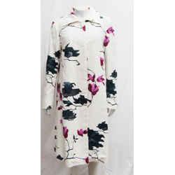Dries Van Noten Large L Floral Print Jacquard Coat Cream Multicolor Cotton
