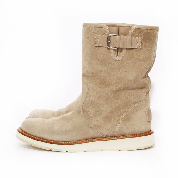 Gucci Suede Monogram Boot