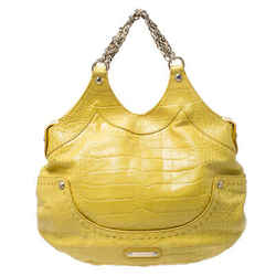 Versace Yellow Croc Embossed Leather Kiss Satchel