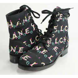 Chanel CC Rainbow Letter Logo Combat Lace Up Boots