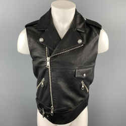 VERSUS by GIANNI VERSACE Size 38 Black Leather Biker Vest
