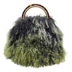Marni Pannier Mongolian Green Lamb Fur Cross Body Bag