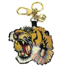New/authentic Gucci Patch Tiger Gg Supreme Key Chain, Multicolor