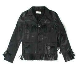 Saint Laurent - New - Leather Jacket Black Curtis Fringe - Us 4 - 36