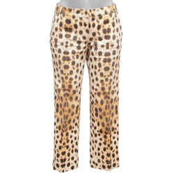 ROBERTO CAVALLI Pants Cotton Denim Animal Print Cream Brown Sz 42