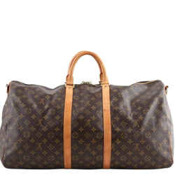 Louis Vuitton Brown Monogram Coated Canvas M41414 Keepall Bandouliere 55 Travel Bag