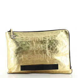 Feminine Pouch Crinkled Leather Large