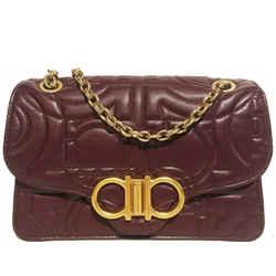 Salvatore Ferragamo Quilted Leather Gancini Handbag Burgundy