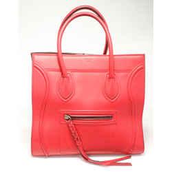 Celine Supple Calfskin Medium Phantom Luggage - Red