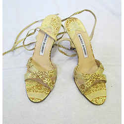 Manolo Blahnik Ankle Tie Sandals In Gold And Aqua Tapestry  - Size 35 1/2