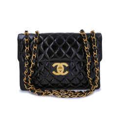 Chanel Vintage Black Patent Jumbo Classic Flap Bag 24k GHW