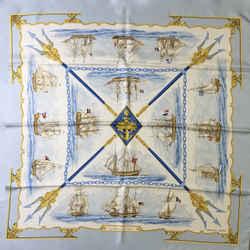 Hermes 'La Marine en Bois' Square Silk Scarf 90 cm