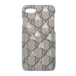 Gucci Grey Black Brown Canvas Monogram Case with Wallet Pouch for iPhone 7/8