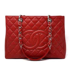 Chanel Gst Caviar Grand Shopper Tote Red Shw