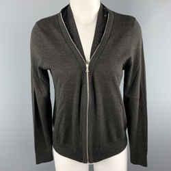 Dries Van Noten Size S Grey Merino Wool Blend Sequin Collar Zip Cardigan
