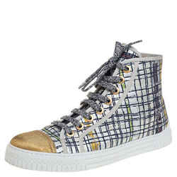 Chanel Multicolor Brocade Fabric And Gold Lame CC Cap Toe High Top Sneakers