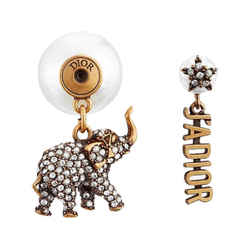 New $520 Dior Gold J'adior Crystal Elephant Tribales Resin Pearl Single Earring
