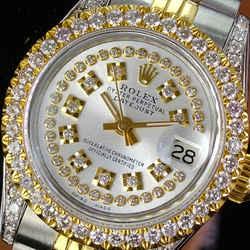 Rolex Lady Datejust 69173 26mm Silver Diamond Dial Lugs Diamond Bezel
