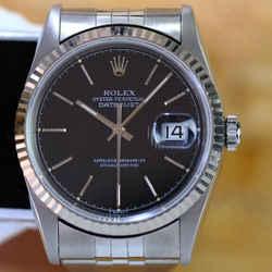 Rolex Datejust 16234 Black Tuxedo Dial Fluted