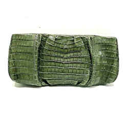 Nancy Gonzalez Green Crocodile Skin Rectangle Clutch Handbag Purse Frame