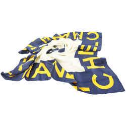 Chanel Navy x Yellow CC Logo Classic Silk Scarf 705cks319