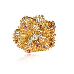 Tiffany & Co. Vintage Ruby Diamond Brooch in 18K Yellow Gold 0.32 CTW