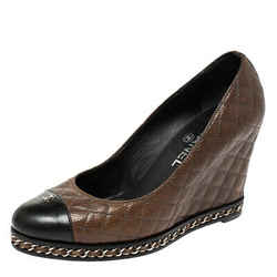 Chanel Brown/Black Quilted Leather Escarpins Wedge Pumps Size 38.5