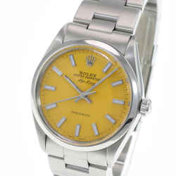 Rolex Oyster Perpetual Airking Yellow Index Dial Smooth Bezel 34mm Watch
