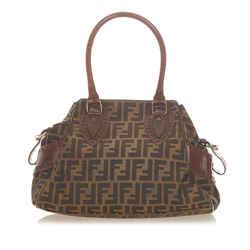 Vintage Authentic Fendi Brown Canvas Fabric Zucca Etniko Handbag Italy