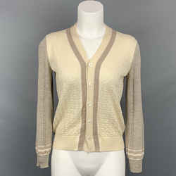 COMME des GARCONS TRICOT Size M Taupe & Cream Textured Knit Cardigan