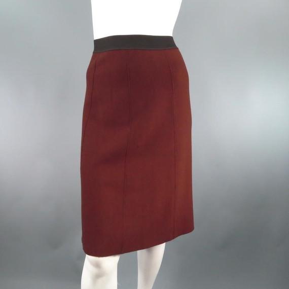LANVIN Fall 2008 Size M Brown Wool Knit A Line Skirt Skirt