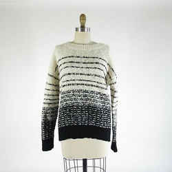 S - Vince Womens Chunky Knit Black & White Striped Pullover Sweater 0509KM