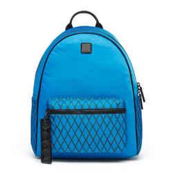 $550 Mcm Blue Black Tumber Rombi Medium Munich Water Resistant Nylon Backpack
