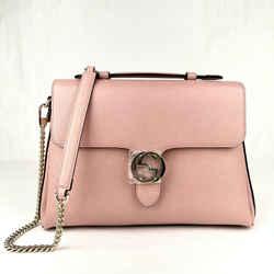 Gucci Powder Pink Leather Large Interlocking G Crossbody Chain Bag 510306 5806