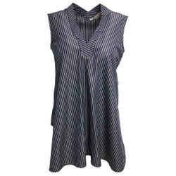 Stella McCartney Navy Blue Striped Sleeveless Cotton Blouse