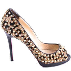 Christian Louboutin Leopard Studded Pumps Brown One Size Authenticity Guaranteed