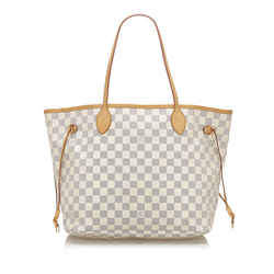 White Louis Vuitton Damier Azur Neverfull MM Bag