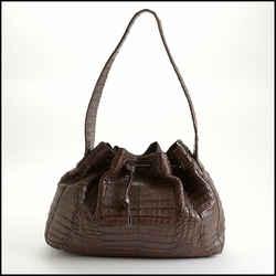 Rdc10813 Authentic Nancy Gonzalez Brown Crocodile Drawstring Shoulder Bag