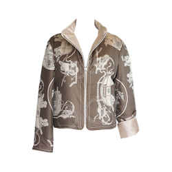 Hermes Jacket Very Rare Reversible Scarf Print Ex Libris Carriages Taupes Vintage L