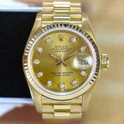 Rolex Datejust 18K Gold Factory Diamond Dial 26mm-ALL FACTORY