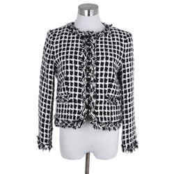Alice + Olivia Size Black White Cotton Jacket Sz 4