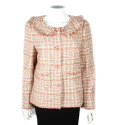 Chanel - 2004 Tweed Blazer Jacket - Pink White Fringe Cc Button 04p - Us 12 - 44