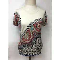 ETRO Ivory/Multicolor Paisley-Print Silk-Blend Knit Short Sleeve T-Top