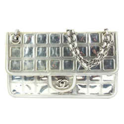 Chanel Silver Quilted Ice Cube Chocolate Bar Classic Chain Flap Bag 862438